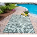 Indoor/Outdoor Blue Retro Rug (5'3 x 7'6)