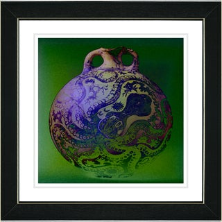 Studio Works Modern 'Octopus Urn - Blue' Framed Art Print