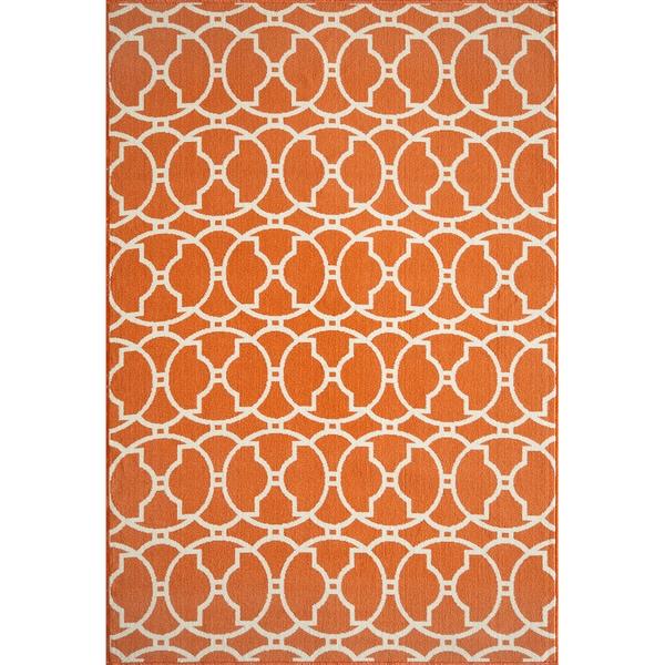 Moroccan Tile Orange Indoor/ Outdoor Rug (6'7 X 9'6