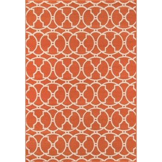 Moroccan Tile Orange Indoor/ Outdoor Rug (5'3 x 7'6)