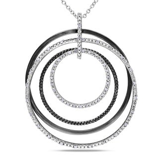 Miadora Sterling Silver 1/4ct TDW Diamond Circle Necklace (H-I, I2-I3)