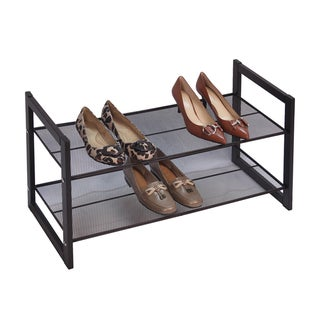 Richards Homewares Metallic Bronze 2-tier Flat Stackable Shoe Rack