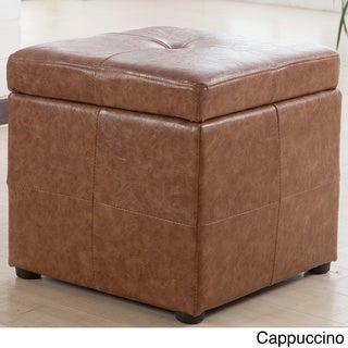 Leatherette Upholstered Storage Cube Ottoman