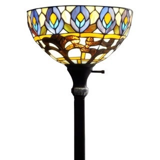 Amora Lighting Tiffany Style Peacock 1-light Torchiere Lamp