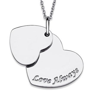 Platinum-plated 'Love Always' Double Heart Necklace