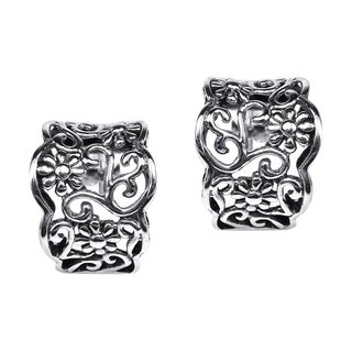 Silver Floral Vines Half Hoop Post Earrings (Thailand)