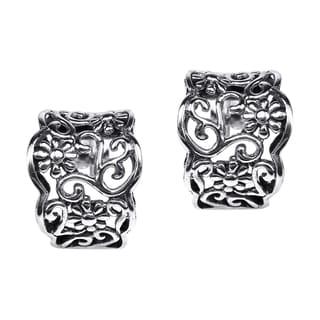Silver Floral Vines Half Hoop Post Earrings (Thailand)