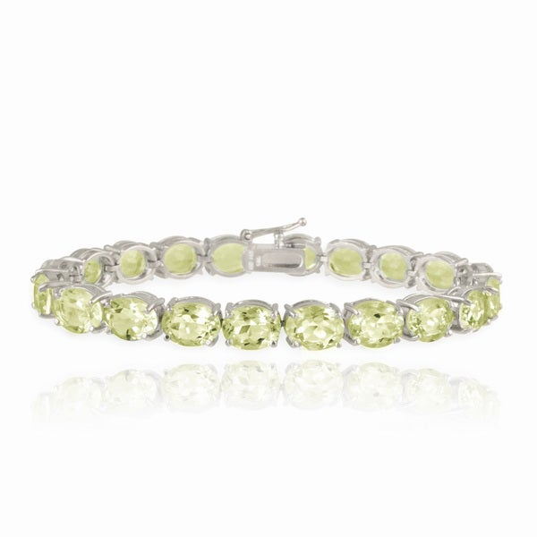 Glitzy Rocks Silvertone Lime Green Quartz Tennis Bracelet