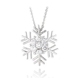 Ics Stonez Rhodium Plated Cubic Zirconia Snowflake Necklace