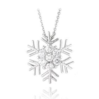 Ics Stonez Rhodium Plated Cubic Zirconia Snowflake Necklace