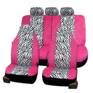 FH Group Pink and White Zebra Airbag-safe Seat Covers (Full Set)
