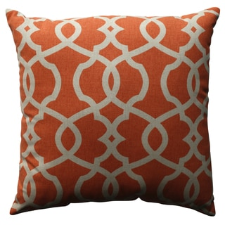 Pillow Perfect Lattice Damask Tangerine 18-inch Throw Pillow