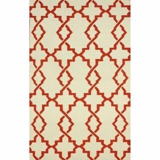nuLOOM Handmade Morroccan Trellis Wool Flatweave Kilim Rust Rug (7'6 x 9'6)