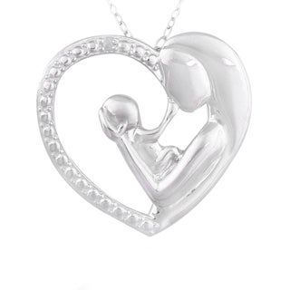 DB Designs Sterling Silver Diamond Accent Mother and Baby Heart Necklace