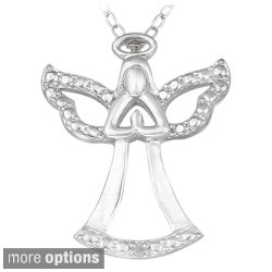 DB Designs Sterling Silver Diamond Accent Praying Angel Silhouette Necklace
