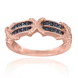 DB Designs 18k Rose Gold over Silver Black Diamond Accent 'X' Ring