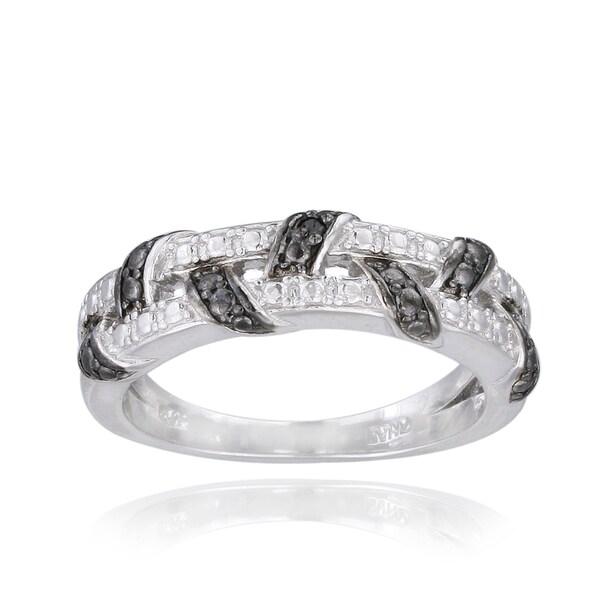 DB Designs Black Diamond Accent Weave Ring