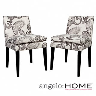 angelo:HOME Marnie Modern Charcoal Black and Cream Paisley Upholstered Dining Chairs (Set of 2)