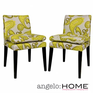 angelo:HOME Marnie Modern Lemongrass Paisley Upholstered Dining Chairs (Set of 2)