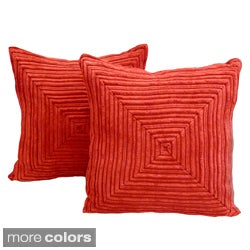 Patterson Ribbed Plush 18 x 18-inch Throw Pillows (Set of 2)