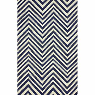 nuLOOM Handmade Chevron Wool Flatweave Kilim Navy Blue Rug (7'6 x 9'6)