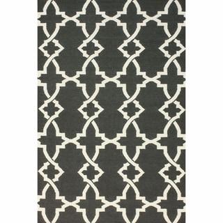 nuLOOM Handmade Morroccan Trellis Wool Flatweave Kilim Grey Rug (7'6 x 9'6)