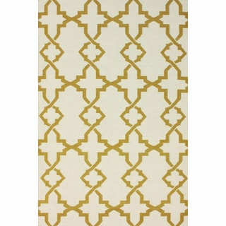 nuLOOM Handmade Morroccan Trellis Wool Flatweave Kilim Gold Rug (7'6 x 9'6)