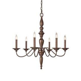 Yorktown Heights 6-light Prescott Bronze Chandelier