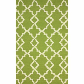 nuLOOM Handmade Morroccan Trellis Wool Flatweave Kilim Green Rug (5' x 8')