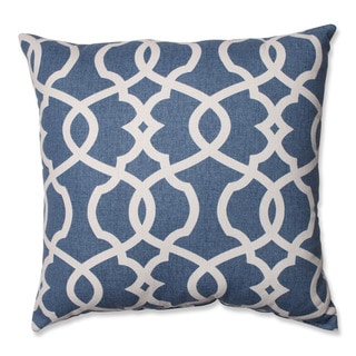 Pillow Perfect Lattice Damask Blue 18-inch Throw Pillow