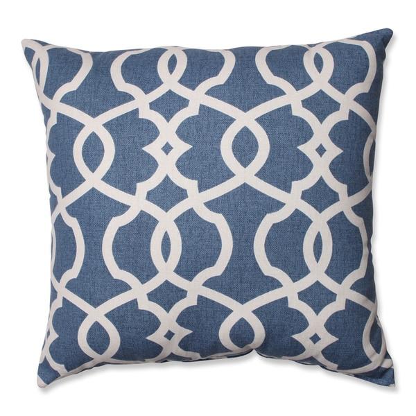 Pillow Perfect Lattice Damask Blue 18-inch Throw Pillow