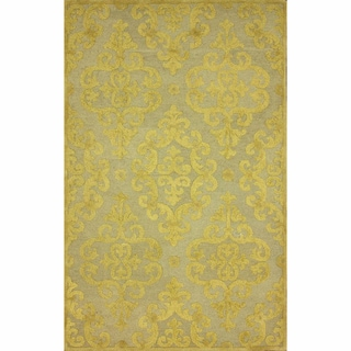 nuLOOM Handmade Transitional Damask Gold Wool Rug (5' x 8')