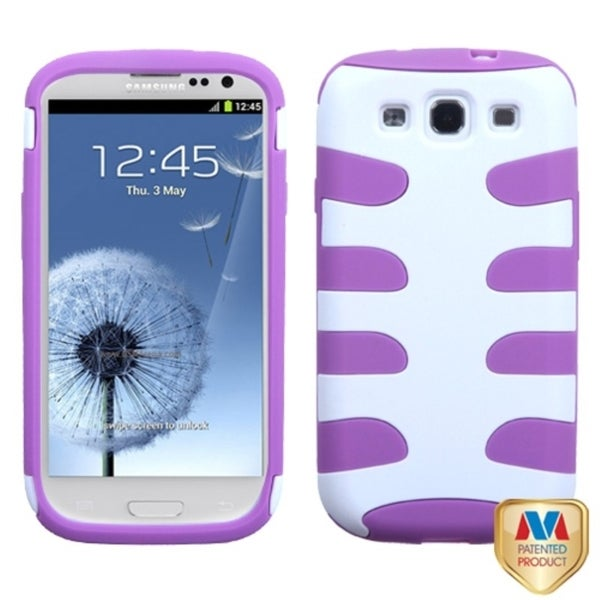 INSTEN Ivory/ Purple Fishbone Phone Case Cover for Samsung Galaxy S3/ III i9300