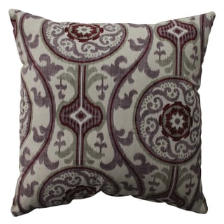 Pillow Perfect Suzani Damask Plum 16.5-inch Throw Pillow