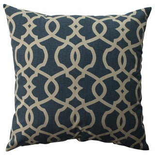 Pillow Perfect Lattice Damask Blue 23-inch Floor Pillow