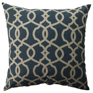Pillow Perfect Lattice Damask Blue 23-inch Throw Pillow