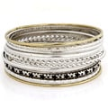 Goldtone and Silvertone Antiqued 10-piece Bangle Set