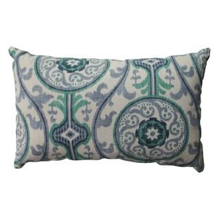 Pillow Perfect Suzani Damask Green Rectangular Throw Pillow