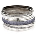 Silvertone Antiqued 10-piece Bangle Bracelet Set