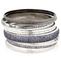 West Coast Jewelry Silvertone Antiqued 12-piece Bangle Bracelet Set