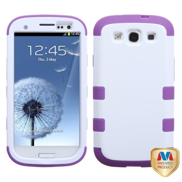 INSTEN Ivory/ Purple TUFF Hybrid Phone Case Cover for Samsung Galaxy S3/ S III