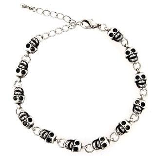 West Coast Jewelry Silvertone Grinning Skull Link Bracelet