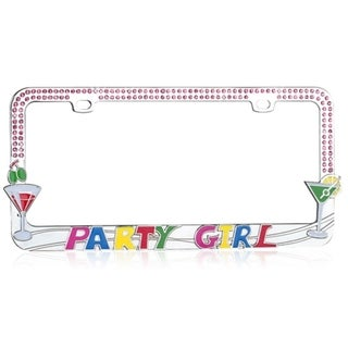 BasAcc Martini Glass/ Party Girl/ Pink Crystal License Plate Frame