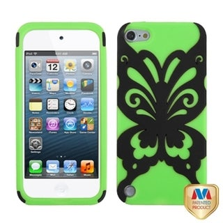 Insten Green/ Black Butterflykiss Hard PC/ Silicone Hybrid Rubberized Matte Case Cover For Apple iPod Touch 5th/ 6th Gen