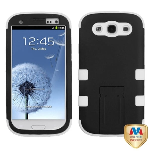 INSTEN Black/ White TUFF Hybrid Phone Case Cover for Samsung Galaxy S3/ S III