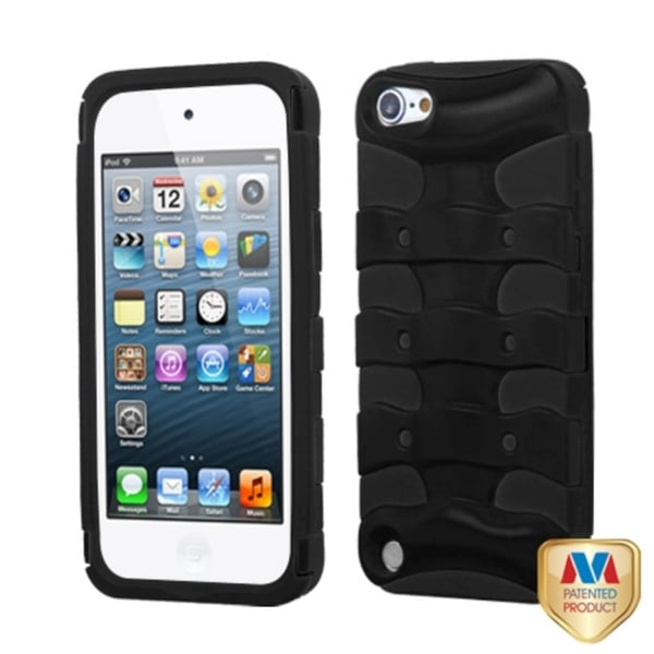 INSTEN Black/ Black 3D Fishbone Hybrid iPod Case Cover for Apple iPod touch 5