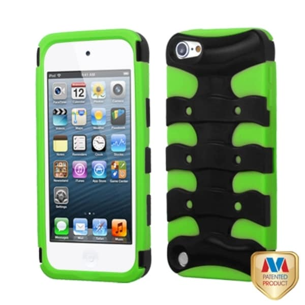 INSTEN Black/ Green 3D Fishbone Hybrid Cover for iPod touch 5th Gen