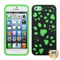 BasAcc Black/ Electric Green Dog Paw Hybrid Case for Apple iPhone 5