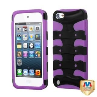 INSTEN Black/ Purple 3D Fishbone Hybrid iPod Case Cover for Apple iPod touch 5