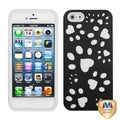 BasAcc Black/ White Dog Paw Hybrid Case for Apple iPhone 5